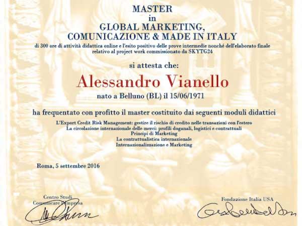 Global Marketing Comunicazione Made in Italy Master Alessandro Vianello Business Coach
